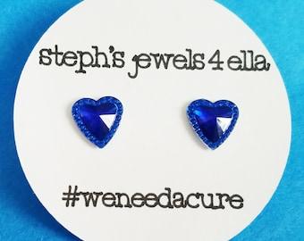 Diabetes Awareness Month Earrings Blue Hearts