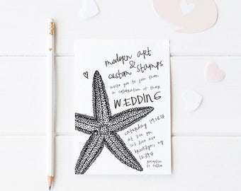 Wedding Invitation Stamp - Wedding Stamp - Custom Wedding Stamp - Custom Stamp - Personalized Stamp - Beach Wedding - Starfish - W34