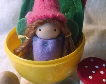 Lovely Spring fairy in Easter Egg with forest treasures!