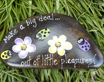 Hand Painted Idaho Rock-Acrylic Original, Ladybug-yellow, green, lavender, paper weight, shelf sitter, inspirational