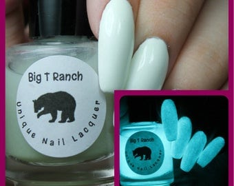 Glow-in-the-Dark Nail Polish Top Coat - Aqua - JUPITER - Nail Polish/Lacquer - Regular Full Sized Bottle (15 ml size)