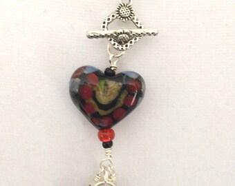 Changeable pendant with  heart lampwork bead.