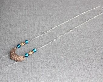 bijoux mode, collier long, bijoux fantaisie, cadeau bff, long necklace, collier bleu, mode jewelry, long Pendentif, bois