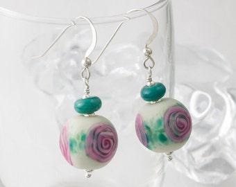 Rose Stone Tumbled Lampwork Earrings