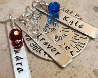 Mothers Necklace - I'll love you forever. I'll like you for always. As long as I'm living, my baby you'll be. 3 Name Tags with 36 Inch Chain
