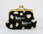 Metal frame purse with two sections - Echino foxes on black - Siamese daddy / Japanese fabric / Two pockets / stones / pink gray