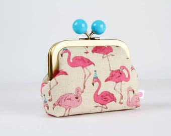 Metal frame coin purse with color bobble - Party flamingo - Color dad / Japanese fabric / Pink flamingo / Turquoise party hats / Dots