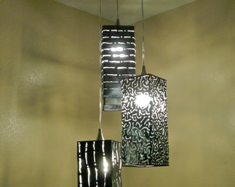 Luminary Lantern, Shadow Lighting, Rectangular Metal Pendents