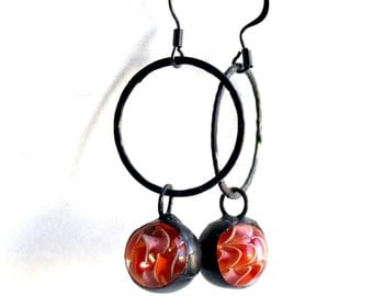 OOAK Stained Glass Jewelry Earrings –Tangerine Glass Lampwork Marbles - Dark Patina