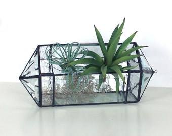 Trendy Modern Geometric Pentagonal Beveled Glass Terrarium- Hanging or Tabletop -Stained Glass Decor - Home Decor