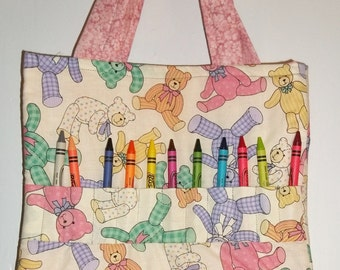 Teddy Bear Toss Crayon Tote Bag Hand Made Great Gift Perfect for Doctor Appointments and Travel  Babysitters Grandmas House and more