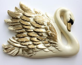 Vintage Chalkware Swan Wall Hanging Mid Century Kitsch Retro 1960s Bathroom Miller Studios Bird Glam Boudoir Decor Mad Men Parlor Gilt