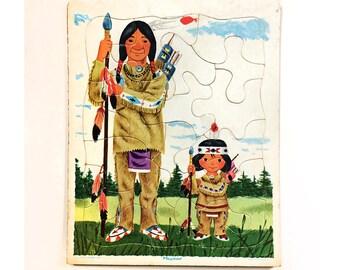 Vintage Playskool Native American Child's Tray Puzzle Illustration by Richard Scarry Golden Press