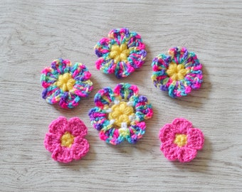6 Multi Crochet Flowers Applique Motif Embellishments