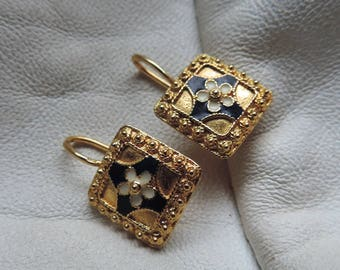 gold plated sterling enamel earrings