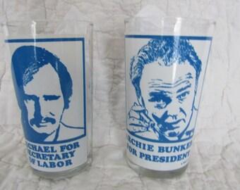 2 Vintage Archie Bunker Glasses Michael and Archie 1972 SALE