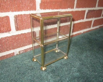 Vintage Small Brass and Glass Small Tiered Keepsake Display Box for Miniatures