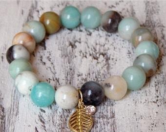 Sale Amazonite Gemstone Stretch Gold Leaf Rhinestone Charm Bracelet Boho Stack Trendy Layering Fashion Gemstone Bracelet