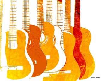 Orange Guitars Art, Giclee Print, Wall Hanging, Music Instrument, Entertainment, Musician Guitarist, Digital POP, Bold Color, Home Decor