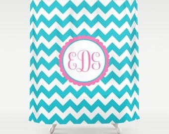 Kids Chevron Monogram Shower Curtain Shower Curtain Kids Shower Curtain Monogram Bathroom Decor
