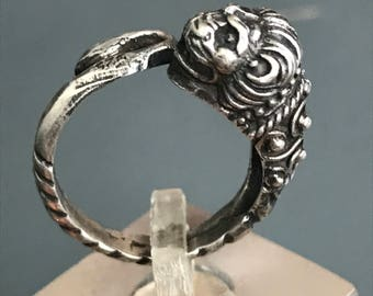 Vintage Sterling Silver bypass  Ring  .  Lion Head . Sterling Silver. Victorian Revival  jewelry