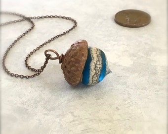 Glass Acorn Necklace - Etched Silvered Spiral Turquoise - by Bullseyebeads