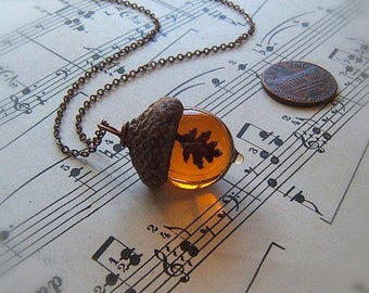 Glass Acorn Necklace - Topaz with Encased Copper Oak Leaf - by Bullseyebeads