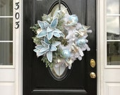ON SALE Blue Christmas Wreath, Blue Christmas, White Christmas, Christmas Wreath, Door Decor, Poinsettia Wreath, Christmas Poinsettia, Xmas