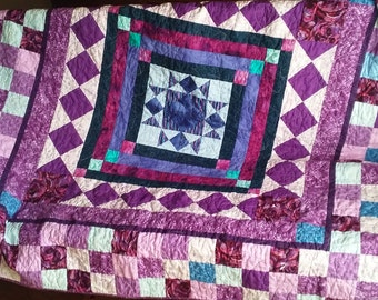 Handmade Patchwork Lap Sofa Quilt Quiltsy Idaho Purple Dream 62 x 62