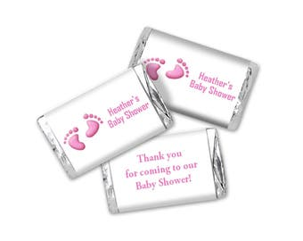 Pink Baby Feet Baby Shower Mini Candy Wrappers - Editable PDF file - Instant Download - Chocolate Bar Favors
