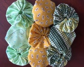 Clearance: Yoyo fabric pieces, 9, bumble bee heaven green leaves and yellow assortment embellishments for scrapbook APPLIQUE Quilt GARLAND