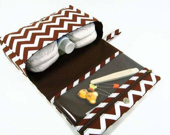 Clearance - Brown chevron diaper bag organizer, baby gift ideas, nappy bag, diaper clutch with clear zipper pouch