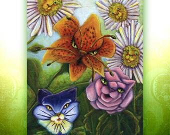 Flower Cat Garden, Through the Looking Glass, Alice in Wonderland Cat Art 5x7