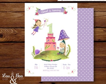 Sugarplum fairy and gnome 1st birthday printable invitation VIOLET - original illustrated woodland  fairy party invitation