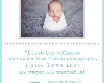 RTS Gray Vegan Faux Flokati Newborn Props, Ash Long Wavy Sheep BaSkeT Stuffer Fur Newborn Baby Photography Props, Artificial Fur, Boys, Wavy