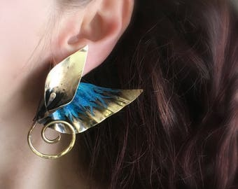 Winged  dagger lily post earrings - edgy deco caribbean blue patina