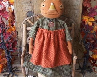 "PriMiTiVe Halloween Pumpkin Art Doll with Candy Corn Nose ""Penelope"" OFG HAFAIR FAAP"