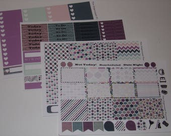 Blue & Purple Glitter Weekly Sticker Kit / Great for your vertical Erin Condren Life Planner
