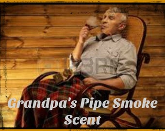 GRANDPA'S PIPE SMOKE Scented Soy Wax Melts - Tarts - Childhood Memories - Wickless Candle - Air Freshener - Highly Scented - Hand Made