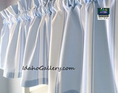 Sky Blue and White Striped Curtain Window Treatment Short Valance  by Idaho Gallery
