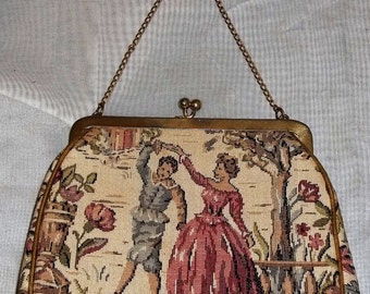 Vintage Petit Point Colonial Couple Tapestry Clutch Purse Bag