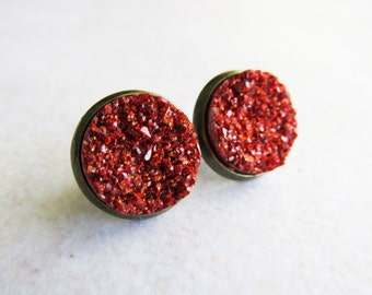 Red Faux Druzy Stud Post Earrings