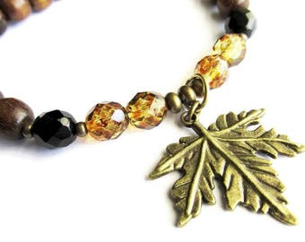 Brown Robles Wood and Maple Leaf Charm Bracelet