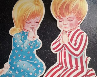 Vintage Cardboard Cutouts, Nursery/Children's Cutouts,1950's Vintage Card board Cutouts,Praying Boy,Praying Girl