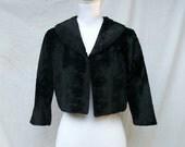 SALE 50s Black Faux Fur Jacket size Small Medium Large Bolero Madmen Cropped Jacket