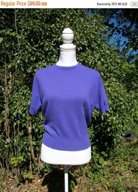 SALE 50s Purple Cashmere Sweater size Medium Large Peck and Peck Hadley Cashmere Bust 40