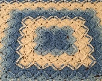 Christmas Blue, Light Blue and Cream Bavarian Baby Blanket