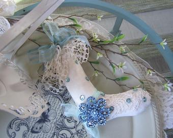 Victorian Stocking Ornament - Blue Mini Stocking Decoration