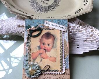 Vintage-style Baby Boy Card - Handmade New Baby Boy Card - Best Baby Card