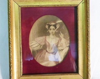 Vintage Victorian woman picture sketch print wood gold tone frame wall decor